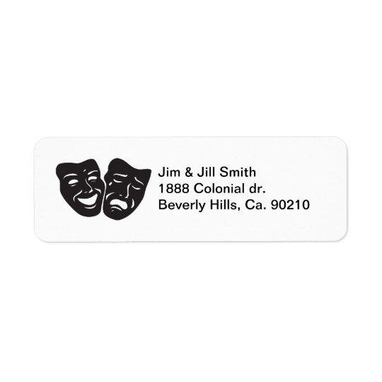 Comedy Tragedy Drama Theatre Masks Return Address Label