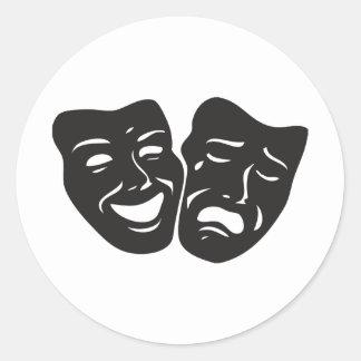 Comedy Tragedy Drama Theatre Masks Round Sticker
