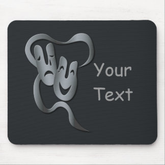 Comedy Tragedy Grey Theater Mask Mousepad