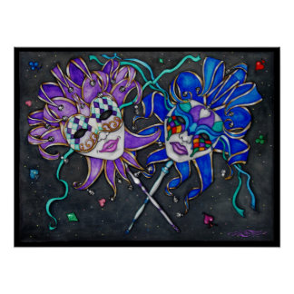Comedy/Tragedy Jester Masks Painting Poster