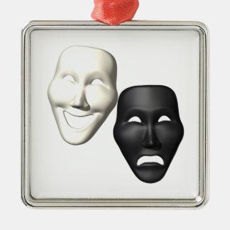 Comedy Tragedy Masks Metal Ornament