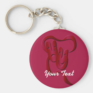 Comedy Tragedy Theater Mask Red Basic Custom BK Key Ring