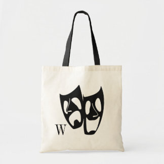 Comedy Tragedy Theater Monogram Tote Bag