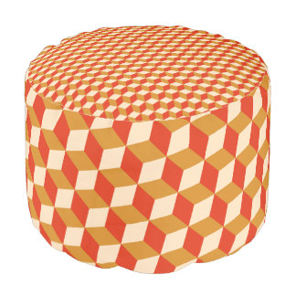 Comforter - Orange Hexagon Pattern Pouf