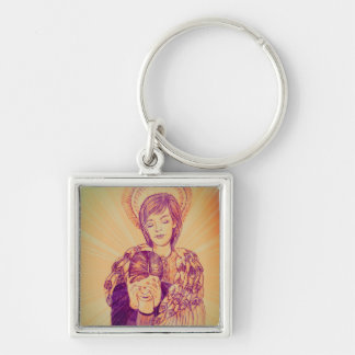 Comforting Angel by Carol Zeock Silver-Colored Square Key Ring