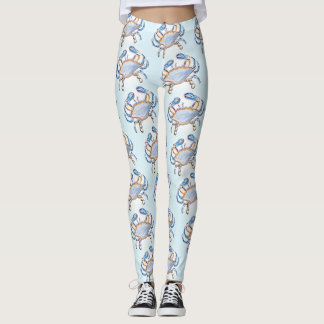 Comfy Hipster Leggings  blue coastal with crabs
