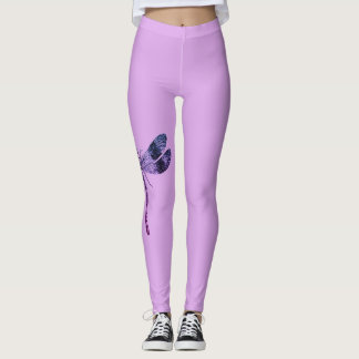 Comfy Hipster Leggings  lavender with dragonfly