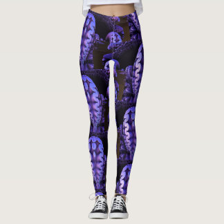 Comfy Hipster Leggings purple and black abstract