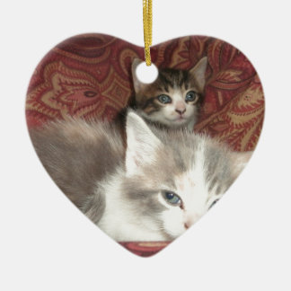 Comfy Kitties Ceramic Heart Decoration