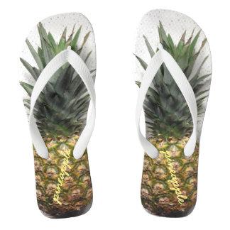 Comfy Personalised Pineapple Flip Flops Thongs