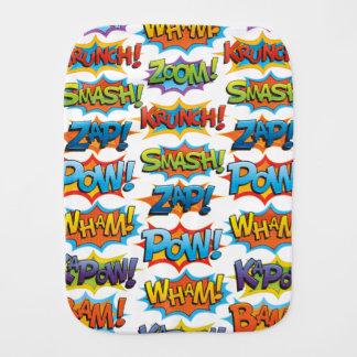 Comic Action Word Burp Cloth