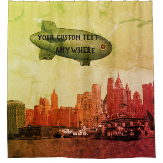 COMIC ART 1930'S BLIMP NEW YORK CITY YOUR TEXT SHOWER CURTAIN