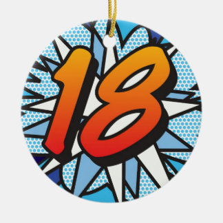 Comic Book 18 and HAPPY BIRTHDAY Blue Ceramic Ornament
