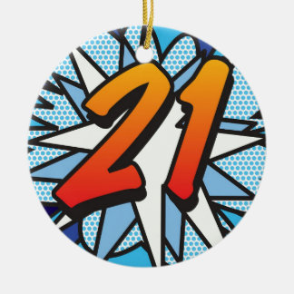 Comic Book 21 and HAPPY BIRTHDAY Blue Ceramic Ornament