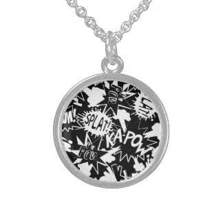 Comic book actions sterling silver necklace