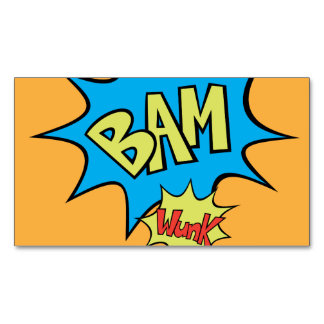 """Comic Book """"Bam"""" Balloon Magnetic Business Cards"""