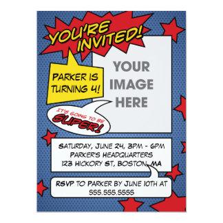 """Comic Book Birthday Invitation 6.5"""" X 8.75"""" Invitation Card"""
