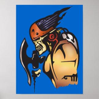 Comic Book Cyborg Skull Warrior Poster