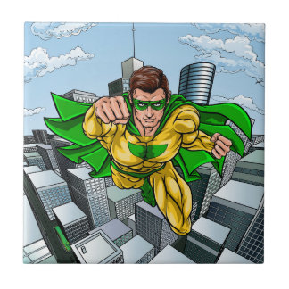 Comic Book Flying Superhero City Ceramic Tile