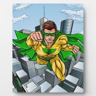 Comic Book Flying Superhero City Plaque