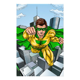 Comic Book Flying Superhero City Stationery