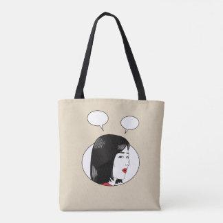 Comic book girl tote bag