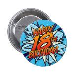 Comic Book HAPPY 18TH BIRTHDAY! blue 6 Cm Round Badge