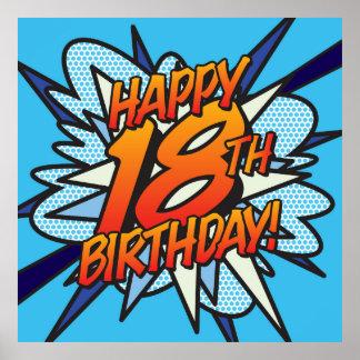 Comic Book HAPPY 18TH BIRTHDAY! blue Poster