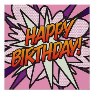 Comic Book HAPPY BIRTHDAY! pink Print