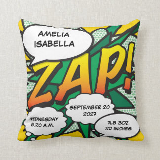 Comic Book Pop Art Birth Stats Personalised Cushion
