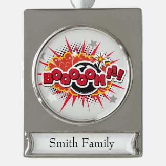 Comic Book Pop Art Boom Explosion Silver Plated Banner Ornament