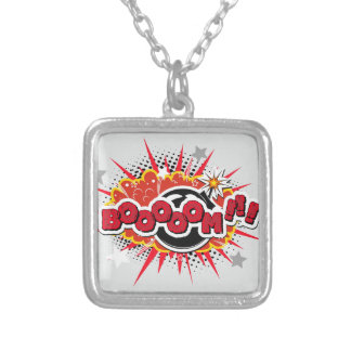 Comic Book Pop Art Boom Explosion Silver Plated Necklace