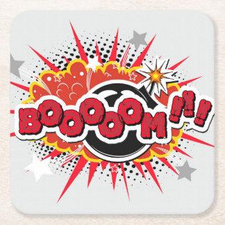 Comic Book Pop Art Boom Explosion Square Paper Coaster