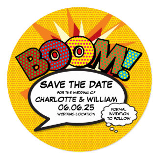 Comic Book Pop Art BOOM Save the Date Card
