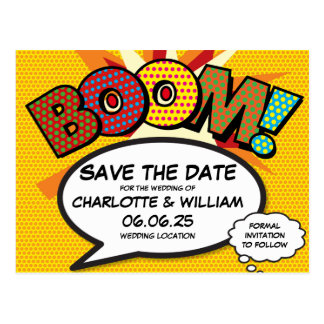 Comic Book Pop Art BOOM Save the Date Postcard