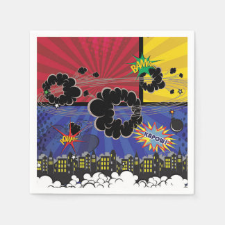 Comic Book Pop Art Colorful Birthday Party Disposable Napkin