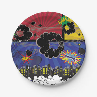 Comic Book Pop Art Colorful Birthday Party Paper Plate
