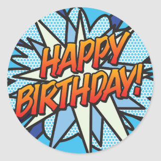Comic Book Pop Art HAPPY BIRTHDAY Classic Round Sticker