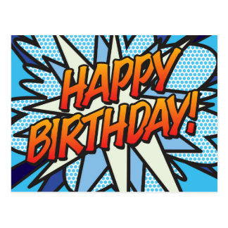 Comic Book Pop Art HAPPY BIRTHDAY Postcard