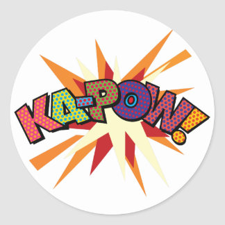 Comic Book Pop Art KA-POW! Round Sticker