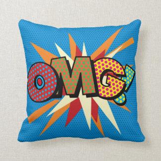 Comic Book Pop Art OMG! Throw Pillow