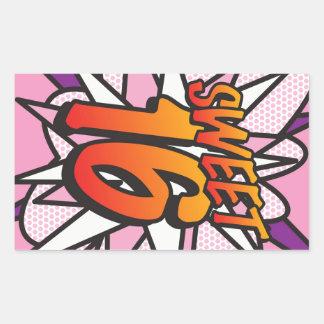 Comic Book Pop Art Pink SWEET 16 BIRTHDAY Rectangular Sticker