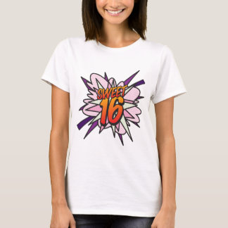 Comic Book Pop Art Pink SWEET 16 BIRTHDAY T-Shirt
