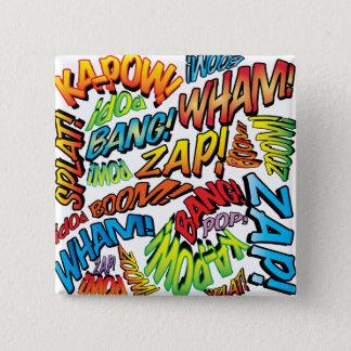 Comic Book Pop Art Sounds 15 Cm Square Badge