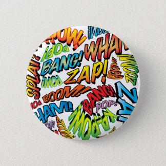 Comic Book Pop Art Sounds 6 Cm Round Badge