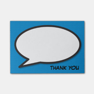 Comic Book Pop Art Speech Bubble Thank You Post-it Notes