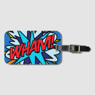 Comic Book Pop Art WHAM! personalised Luggage Tag