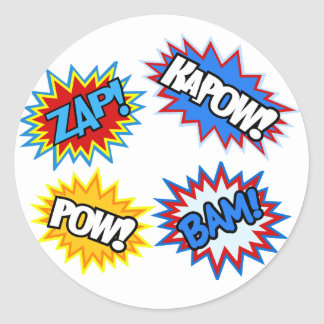Comic Book Pow! Bursts Classic Round Sticker