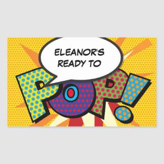 Comic Book Ready to POP! Baby Shower Rectangular Sticker