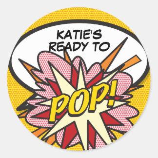 Comic Book Ready to POP! Baby Shower Round Sticker